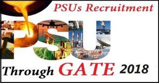 PSU Recruitment ONGC, BSNL, BHEL, BPCL, Through GATE 2018 Score