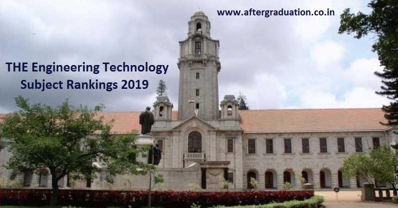 THE Engineering Technology Subject Rankings 2019: IISc Bangalore and IIT Bombay in Top 200