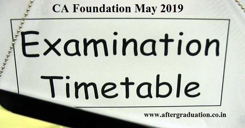 ICAI CA Foundation May 2019 Examination Dates and Details. CA Foundation May 2019 Exam – Time Table, Fees, Exam Date Sheet, Eligibility criteria, Application form and otherdetails
