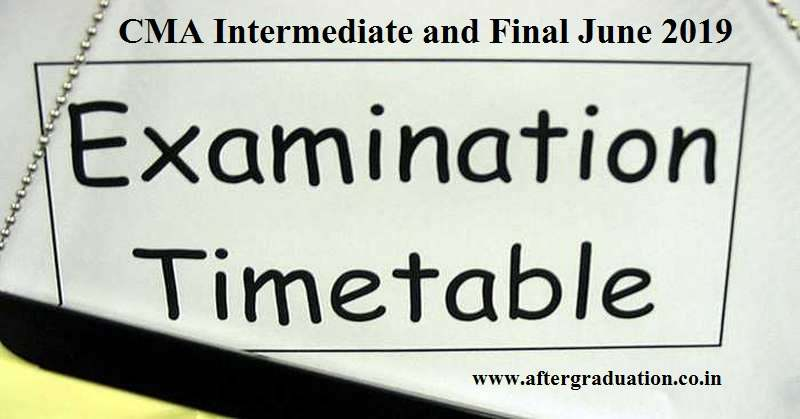 ICMAIexam datesfor CMA Inter & Final exams June 2019 attempt. ICMAI announces CMA Inter and Final June 2019 exams will start fromJune 11.
