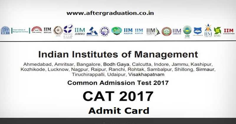CAT 2017 Admit Card Released, Download Available till Exam Day Nov. 26, common admission test 2017