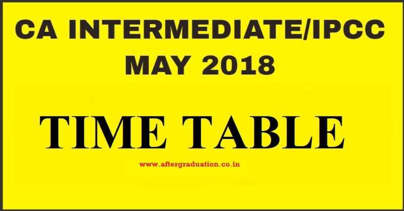 CA Intermediate May 2018 (IPCC) Exam Time Table Announced By ICAI