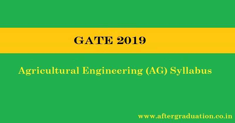 GATE 2019 Agricultural Engineering Syllabus and AG Exam Pattern