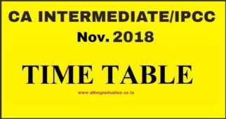 CA Intermediate Nov 2018 Exam Time Table (Old and New Scheme) Announced By ICAI