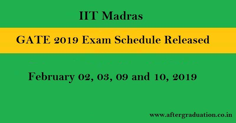GATE 2019 Exam Schedule Announced, Check Details Here for GATE 2019 exam schedule, GATE 2019 Admit card, GATE 2019 exam results, GATE 2019 exam pattern