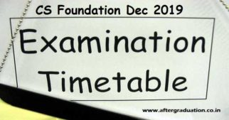 ICSI released CS Foundation December-2019 timetable and schedule. The next Computer Based CS Examination will be on Dec 28 and Dec 29, 2019