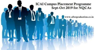 ICAI Campus Placement Sept-Oct 2019 Schedule: The Committee for Members in Industry & Business (CMI&B) of the Institute of Chartered Accountants of India (ICAI) has announced the schedule of ICAI Announces Campus Placement Programme to be held on September and October 2019 for Newly Qualified Chartered Accountants (NQCAs).