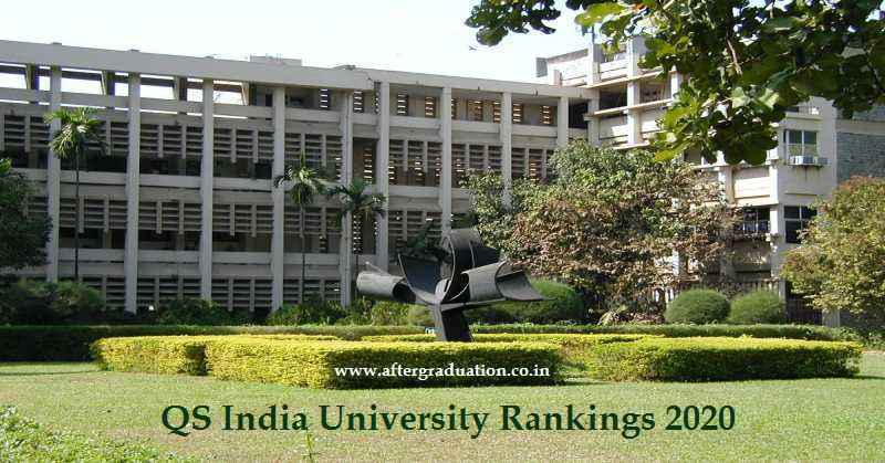 7 IITs in Top 10 Positions of QS India University Rankings 2020, IIT Bombay ranked as the best Higher Education Institute in India followed by IISc Bangalore,Check top 20 best higher education Universities in India