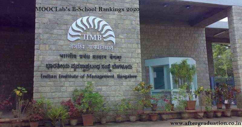 MOOCLab's B-School Rankings 2020, IIMB bags 3rd spot & ISB 14th in MOOCLab's Business School Rankings 2020 for its provision, design & delivery of Massive Open Online Courses (MOOCs)