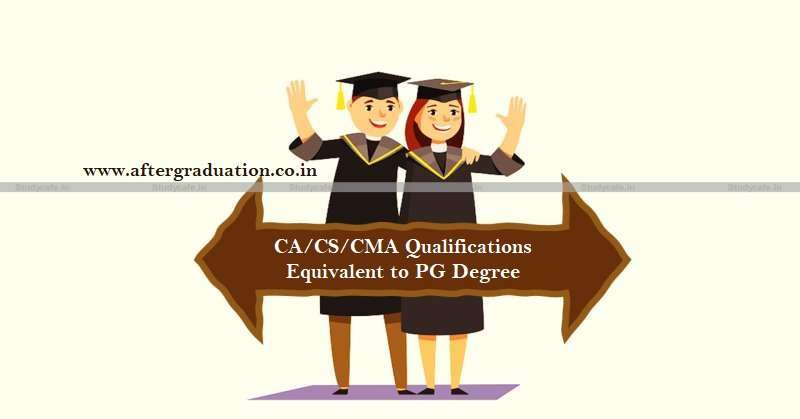 Chartered Accountant (CA), Company Secretary (CS), or ICWA/ICMA qualifications will be equivalent to postgraduate degree: UGC Announcement